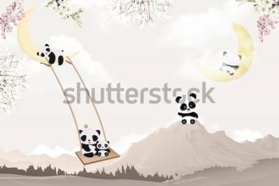 Sticker cute pandas playing kids room wallpaper design