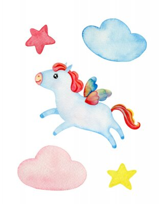 Cute pegasus clipart.  Stars, pink and blue clouds. Watercolor illustration isolated on white.