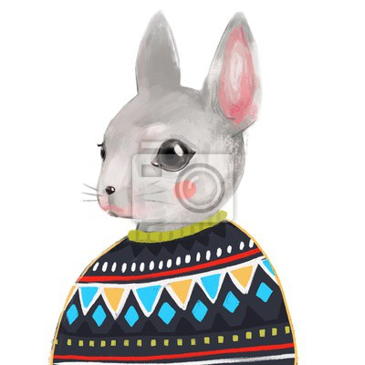 Cute rabbit in sweater. Hand drawn illustration