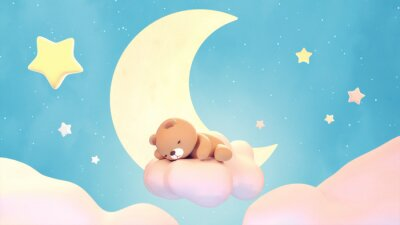 Sticker Cute sleeping bear on lake green color background. Beautiful pastel pink clouds, yellow crescent moon, and stars. 3d rendering picture.