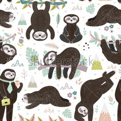 Sticker Cute sleeping sloths seamless pattern. Adorable animal background. Vector illustration