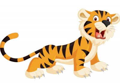 Sticker Cute tiger cartoon roaring