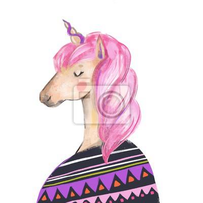 Cute unicorn girl in sweater. Hand drawn watercolor illustration