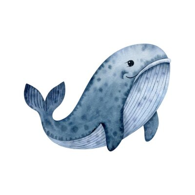 Cute whale-watercolor illustration isolated on white background. Cartoon stylized animal character, hand drawn clipart. Illustration for clothes, stickers, baby shower, greeting cards, prints.