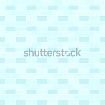 Sticker Cyan-blaues Backsteinmauermuster. Nahtloser Vektorziegelsteinhintergrund