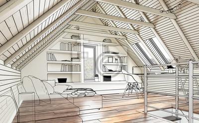 Dachboden Ausbau Skizze Notebook Sticker Wandsticker Appartment
