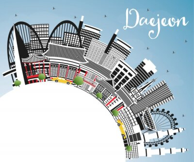 Daejeon South Korea City Skyline with Color Buildings, Blue Sky and Copy Space.
