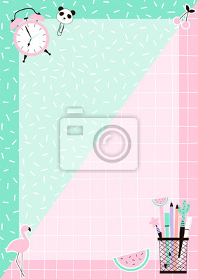Daily Planner with cute stationery elements on Memphis background. Green and Pink colours.  Flat Vector graphics. Template for agenda, planners, check lists.