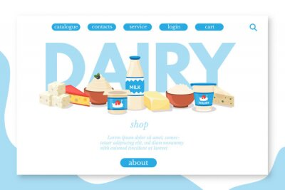 Dairy products shop vector landing page template
