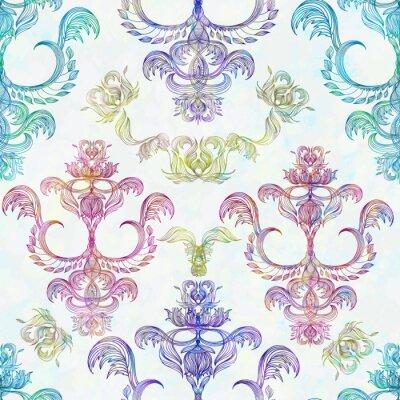 Sticker Damast nahtlose Blumenmuster. Königliche Tapete. Blumen auf einer Rose Hintergrund. EPS 10