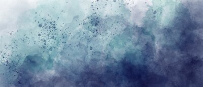 Sticker dark blue and light blue sky gradient watercolor background with clouds texture