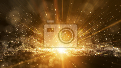 Sticker Dark brown background, digital signature with particles, sparkling waves, curtains and areas with deep depths. The particles are golden light lines.