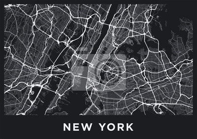 Dark New York City map. Road map of New York (United States). Black and white (dark) illustration of new york streets. Transport network of the Big Apple. Printable poster format (album).