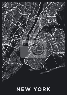 Dark New York City map. Road map of New York (United States). Black and white (dark) illustration of new york streets. Transport network of the Big Apple. Printable poster format (portrait).