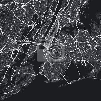 Dark New York City map. Road map of New York (United States). Black and white (dark) illustration of new york streets. Transport network of the Big Apple. Square format.