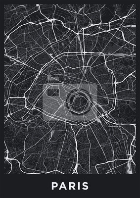 Dark Paris city map. Road map of Paris (France). Black and white (dark) illustration of parisian streets. Printable poster format (portrait).
