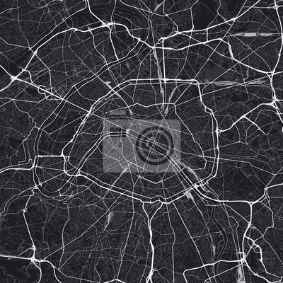 Dark Paris city map. Road map of Paris (France). Black and white (dark) illustration of parisian streets. Square format.