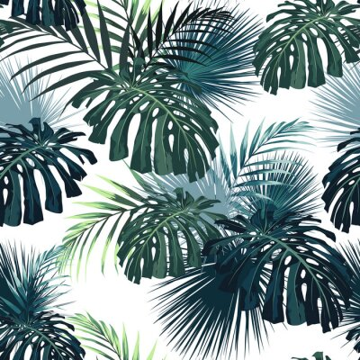 Sticker Dark tropical leaves with jungle plants. Seamless tropical pattern with green palm and monstera leaves. White background.
