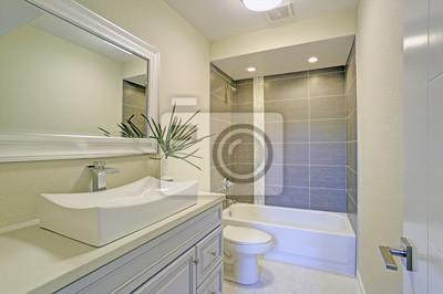 Badezimmer Kombination   Das Frisch Renovierte Badezimmer Verfugt Uber Eine Duschwannen