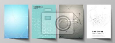 Sticker Das Vektorlayout der Entwurfsvorlagen für das A4-Format umfasst Modellvorlagen für Broschüre, Flyer und Bericht.  Technologie, Wissenschaft, medizinisches Konzept.  Molekülstruktur, Verbindungslinien