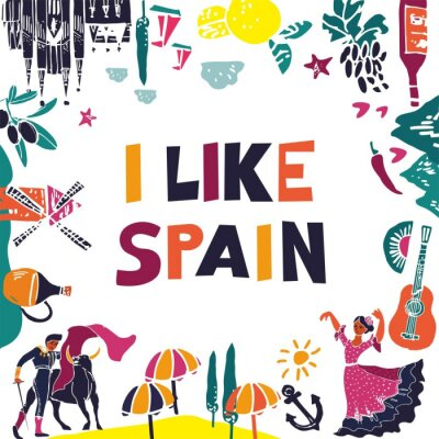 Decorative banner with symbols and attractions and the words I like spain. Postcard for tourists, travel guides, invitations. Poster for wall decoration in the room, classroom. Vector illustration.
