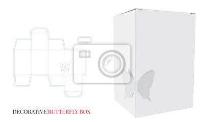 Decorative Butterfly Box Illustration. Vector with die cut / laser cut layers. White, clear, blank, isolated Paper Box mock up on white background. Packaging Design, 3D presentation.