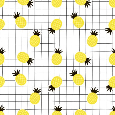 decorative chaotic pineapple and doodle plaid seamless pattern, flat vector graphics, exotic summer design