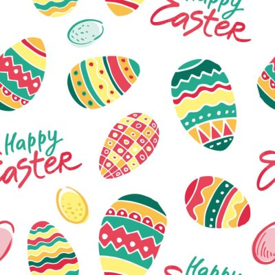 Decorative color seamless pattern with Easter eggs and handwritten phrase happy Easter. Cute background for wrapping paper, printing on kitchen and table textiles. Flat cartoon vector illustration.