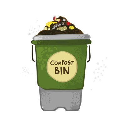 Decorative compost bin with soil, food waste on the background of bushes. The theme of zero waste. The concept of a banner of organic fertilizers, compost, soil, agronomy. Cartoon vector illustration.