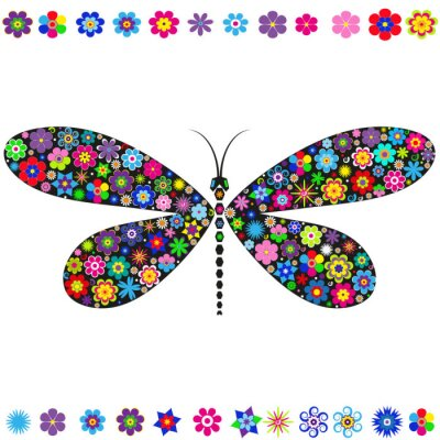 Decorative dragonfly decorated with various multicolored flowers