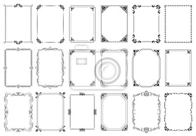 Sticker Decorative frames. Retro ornamental frame, vintage rectangle ornaments and ornate border. Decorative wedding frames, antique museum picture borders or deco devider. Isolated icons vector set