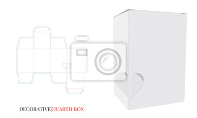 Decorative Heart Box Illustration. Vector with die cut / laser cut layers. White, clear, blank, isolated Paper Box mock up on white background. Packaging Design, 3D presentation.