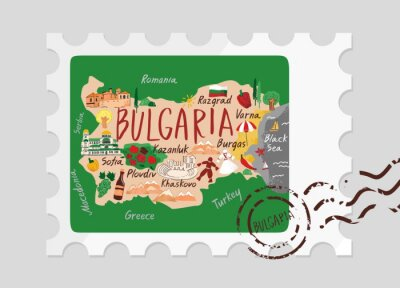 Decorative map of Bulgaria drawn by hand with symbols, sights and landscape on a postage stamp with a stamp. Concept banner for tourist guides, promo, infographics. Cute cartoon vector illustration.