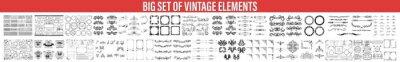 Sticker Decorative Ornate Elements and Badges, Vector set of calligraphic design elements, Vector set of vintage styled calligraphic elements or flourishes, collection or set of vector decorative elements