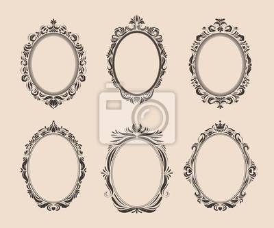 Sticker Decorative oval vintage frames and borders set. Victorian and baroque style design. Elegant royal-style frame shapes with swirls for labels,tags and invitations. Vector illustration.
