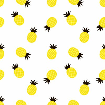 decorative pineapple chaotic seamless Pattern, flat vector graphics, exotic summer design
