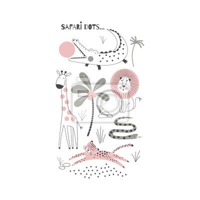 Decorative pink and green Savannah Wild Animals illustration with allegator, giraffe, lion, snake, leopard, Scandinavian style safari graphic, Kids summer t-shirt print