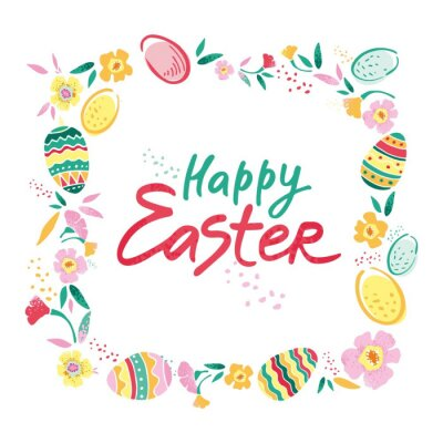 Decorative square frame with flowers, eggs and with the phrase happy Easter in the center hand drawn on a white background. Banner for congratulations on the spring holiday. Cute vector illustration.