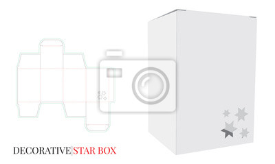 Decorative Star Box Illustration. Vector with die cut / laser cut layers. White, clear, blank, isolated Paper Box mock up on white background. Packaging Design, 3D presentation.