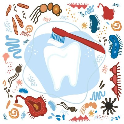 Decorative tooth with a brush on an abstract blue background with hand-drawn bacteria and microbes. Banner about dental hygiene and prevention of caries. Poster for dental clinics. Vector illustration
