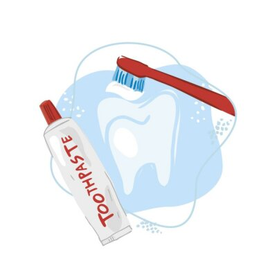 Decorative tooth with brush and paste on an abstract blue background hand drawn. Baner concept of dental hygiene, prevention of caries and periodontitis. Poster for dental clinics. Vector illustration