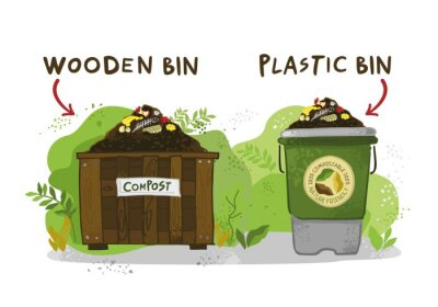 Decorative wooden and plastic compost bins on a background of green bushes drawn by hand. Symbols of eco life-style, zero-waste, advertising. Banner for gardening and farming. Vector illustration.