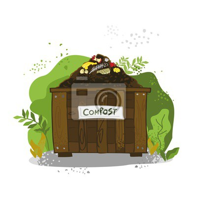 Decorative wooden box with soil, food waste on the background of bushes. The theme of zero waste. The concept of a banner of organic fertilizers, compost, soil, agronomy. Cartoon vector illustration
