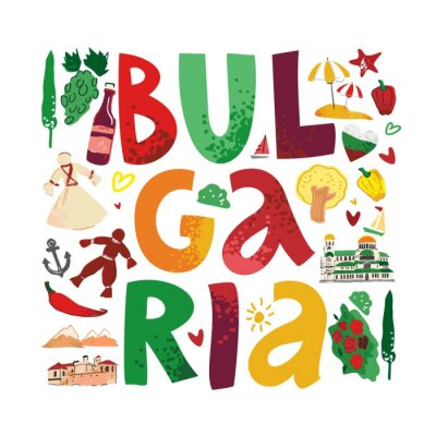 Decorative word Bulgaria is inscribed in a square with symbols, architecture of the country on a white background. Banner for promo, print on fabric. Logo for tourist guides. Flat vector illustration.