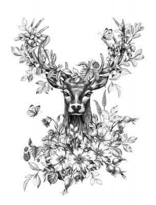 Sticker Deer with Flowers, Berries and Butterflies Pencil Drawing