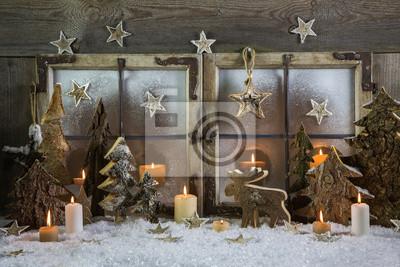 Dekoration Weihnachten Fenster Mit Kerzen Schnee Und Holz Notebook