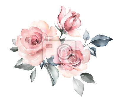 dekorative Aquarellblumen. Blumenillustration, Blatt und Knospen. Botanische Zusammensetzung für Hochzeit oder Grußkarte. Zweig der Blumen - Abstraktion Rosen, romantisch