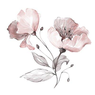 dekorative Aquarellblumen. Blumenillustration, Blatt und Knospen. Botanische Zusammensetzung. Zweig der Blumen - Abstraktion Rosen, romantisch
