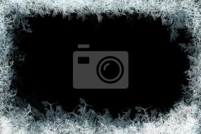 Sticker Dekorative Eiskristalle Rahmen auf schwarz matt Hintergrund
