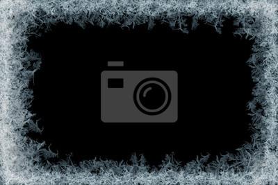 Sticker Dekorative Eiskristalle Rahmen auf schwarzem Matte Hintergrund